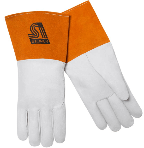 Steiner 0235-L Pro-Series MegaMIG Cotton Lined Heavyweight Grain Goatskin and Split Cowhide Back MIG Welding Gloves with 4.5 Cuff Large