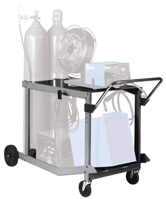 Universal Welding Cart Fold Down Handle Single Dual Bottle Heavy Duty Steel