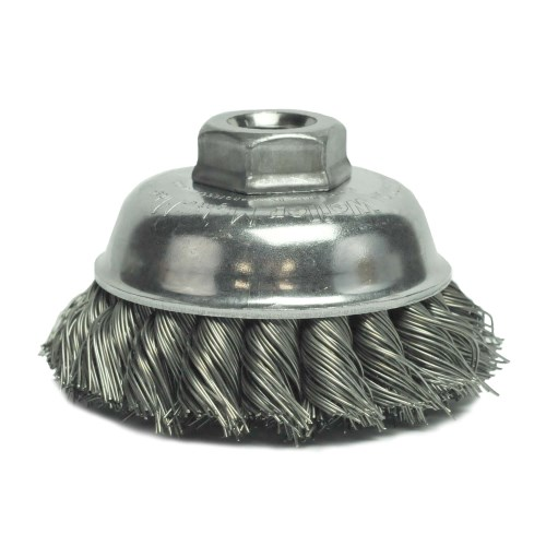 "Weiler 3-1/2"" Single Row Knot Wire Cup Brush 13156"