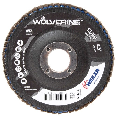 "Weiler 4-1/2"" Wolverine Abrasive Flap Disc, Conical (TY29) 31343"