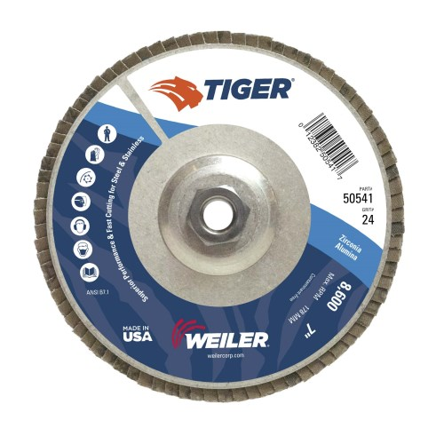 "Weiler 7"" Tiger Abrasive Flap Disc, Conical (TY29) 50541"