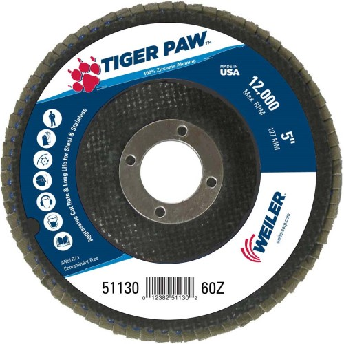 "Weiler 5"" Tiger Paw Abrasive Flap Disc, Conical (TY29)  10 Pk 51130"