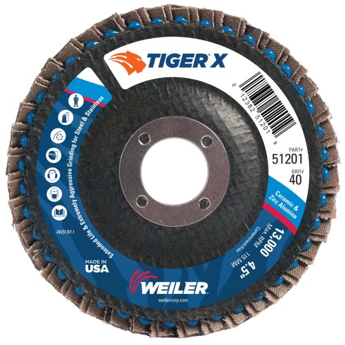"Weiler 4-1/2"" Tiger X Flap Disc, Angled (TY29) 51201 (10 Pk)"