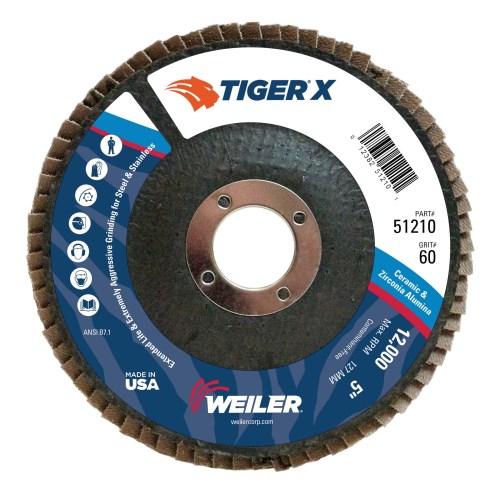"Weiler 5"" Tiger X Flap Disc, Conical (TY29)  51210 (10 Pk)"