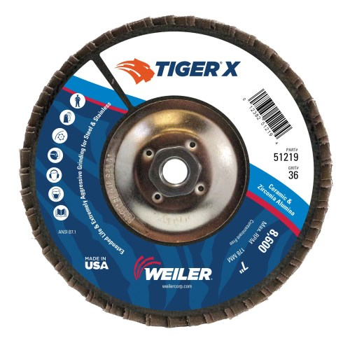 "Weiler 7"" Tiger X Flap Disc, Conical (TY29) 51219 (10 Pk)"