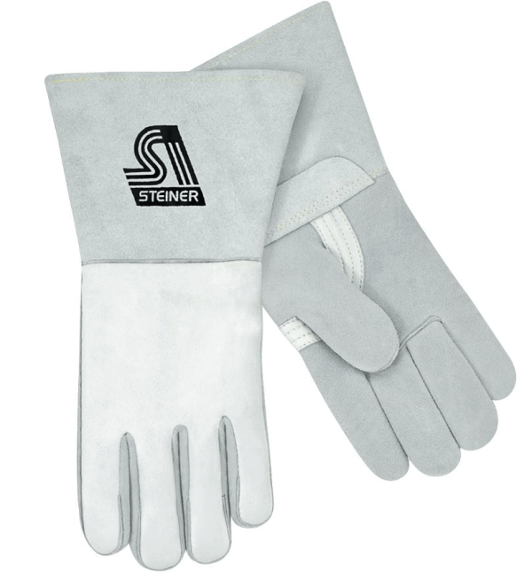 Steiner Industries Premium Grain Elkskin Back, Reverse Grain Elkskin Palm Stick Welding Gloves - Nomex® Lined Back #7500