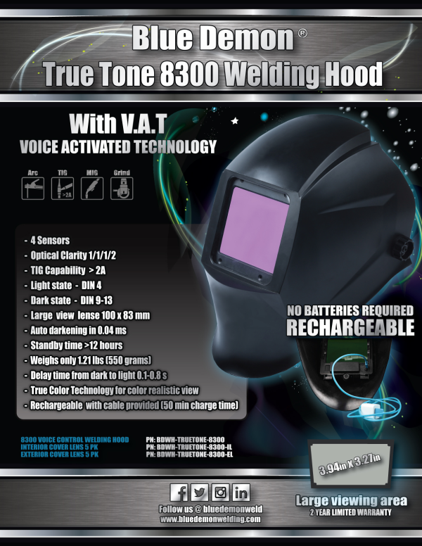 Blue Demon True Tone 8300 Welding Helmet #BDTRTONE8300