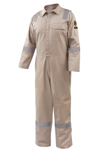 Black Stallion AR/FR Cotton Coverall with Reflective FR Tape, Stone Khaki CF2118-ST