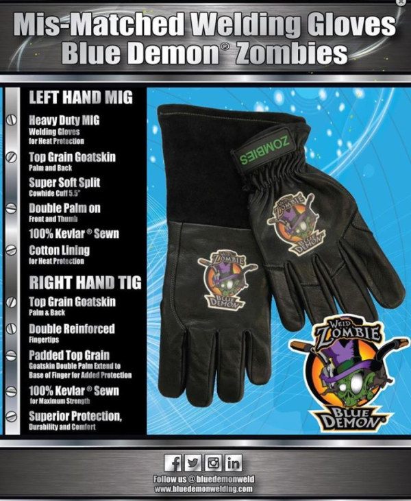 Blue Demon Zombie Mis-Matched Welding Gloves #BDZOMBIE