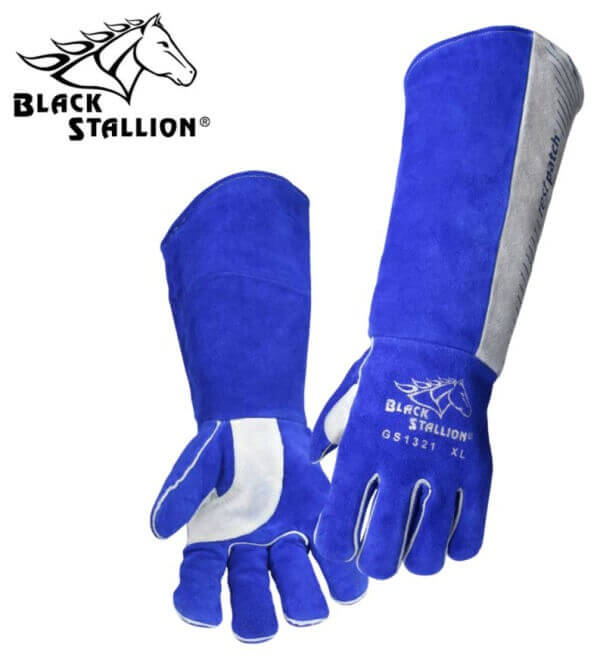 "Revco Black Stallion Padded Long-Cuff Split Cowhide Stick Gloves - 21"" #GS1321-BG"