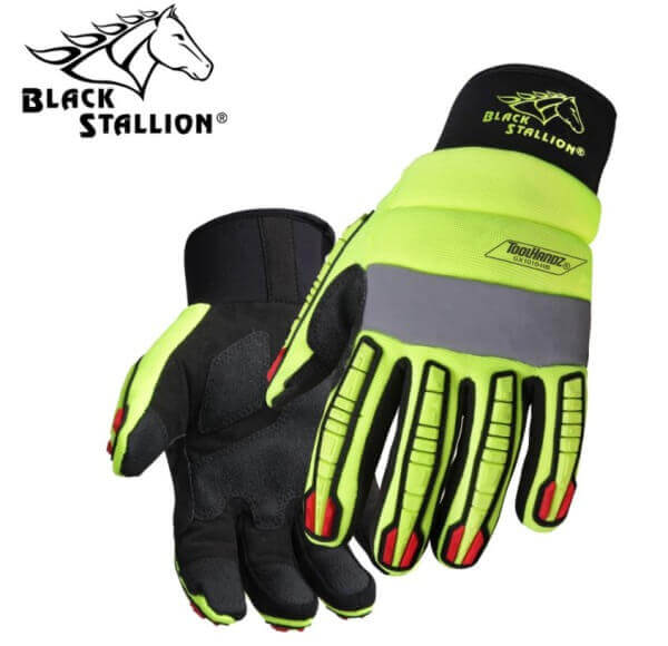 Black Stallion ToolHandz® Synthetic Leather Hi-Vis Mechanic's Gloves #GX1010-HB
