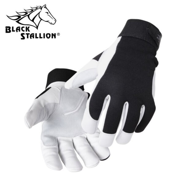 Black Stallion FlexHand™ Grain Goatskin Mechanic's Gloves #GX3020BW
