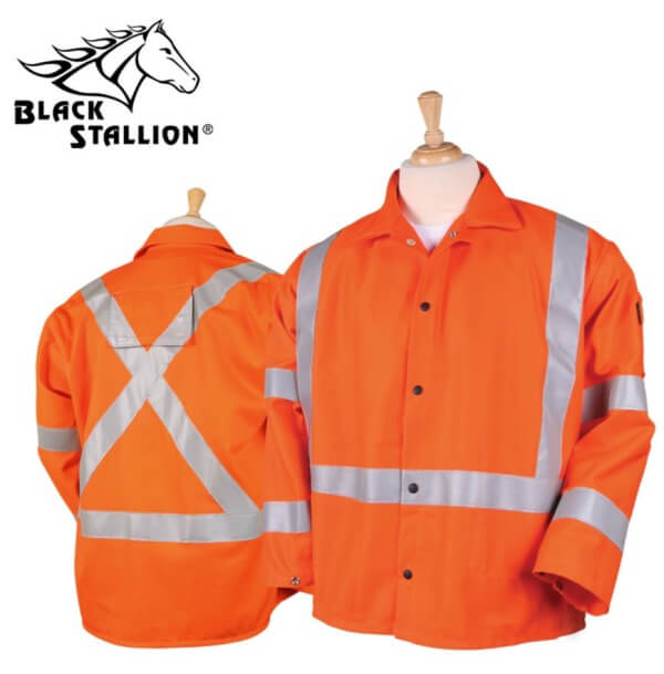 "Black Stallion TruGuard™ Orange 200 FR Cotton Welding Jacket, Reflectives - 30"" #JF1012-OR"
