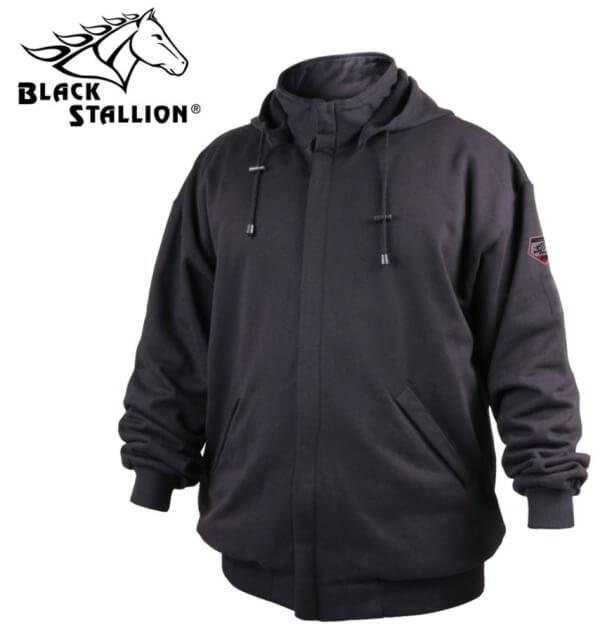 Black Stallion TruGuard™ 200 FR Cotton Hooded Sweatshirt #JF1331BK