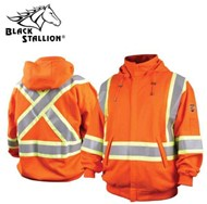 Black Stallion TruGuard™ 200 FR Cotton Hooded Sweatshirt, Reflectives, Orange #JF1332-OR