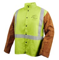 Black Stallion FR Cotton & Cowhide Hybrid™ Welding Jacket, Safety Lime #JH1012-LM