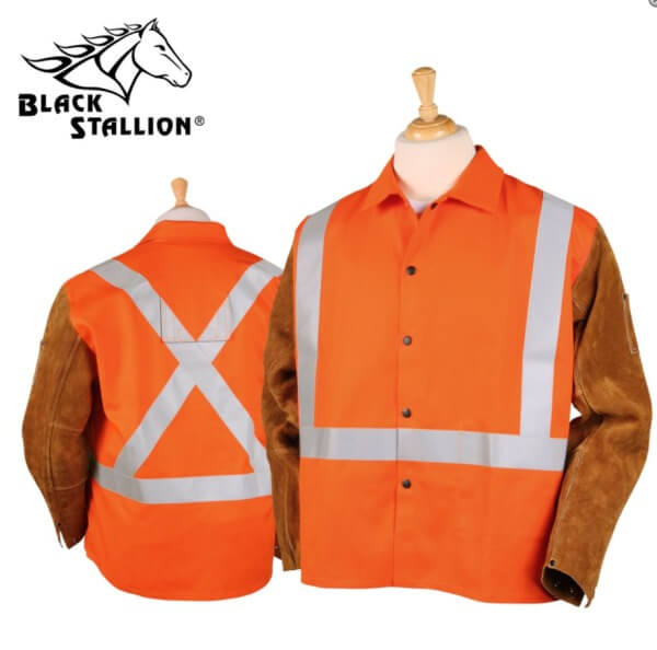 "Black Stallion Orange FR Cotton & Cowhide Hybrid™ Jacket, Reflectives - 30"" #JH1012OR"