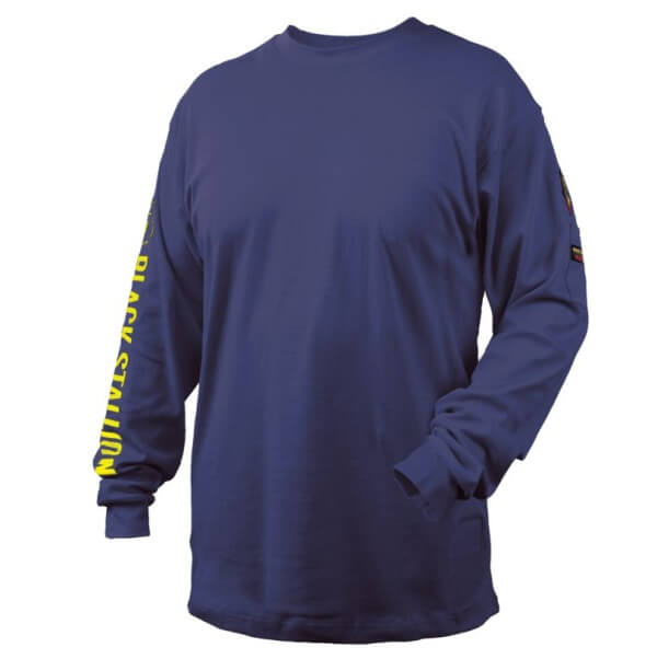 Black Stallion FR Cotton Knit Long-Sleeve T-Shirt Navy #TF2510NV