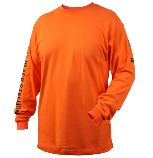 Black Stallion FR Cotton Knit Long-Sleeve T-Shirt Safety Orange #TF2510OR