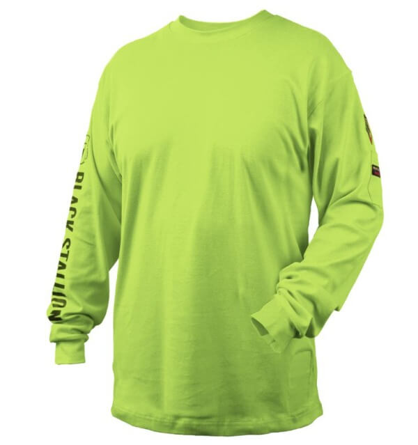 Black Stallion FR Cotton Knit Long-Sleeve T-Shirt Safety Lime #TF2510LM