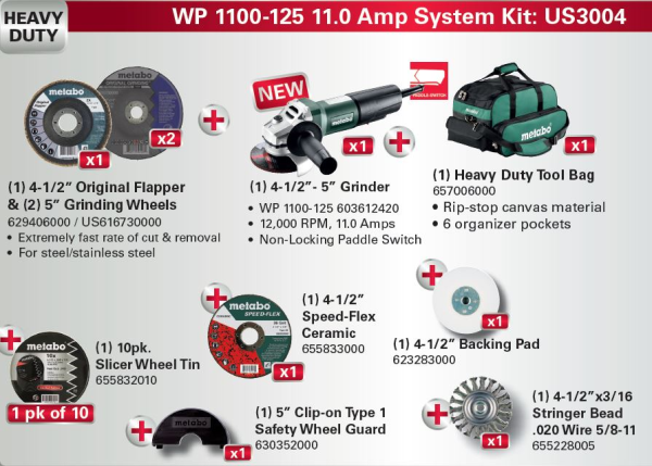 Metabo WP 1100-125 11.0 Amp System Kit #US3004