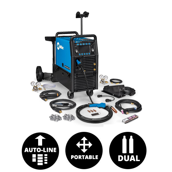 Miller Multimatic® 255 Multiprocess Welder w/ EZ-Latch™ Dual Cylinder Running Gear & TIG Kit