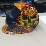 Auto-Darkening Helmet with Skull and Fire Design