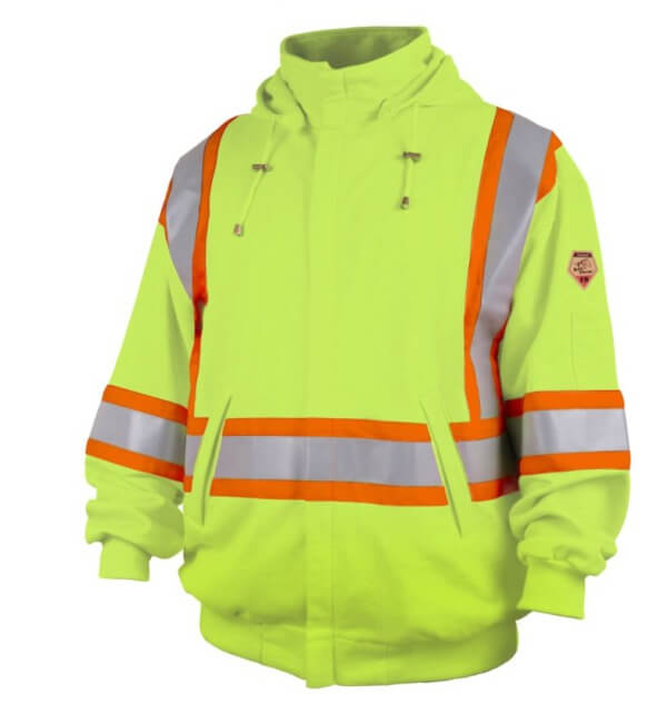 Black Stallion TruGuard™ 200 FR Cotton Full-Zip Hooded Sweatshirt, Safety Lime #JF1332-LM For Sale