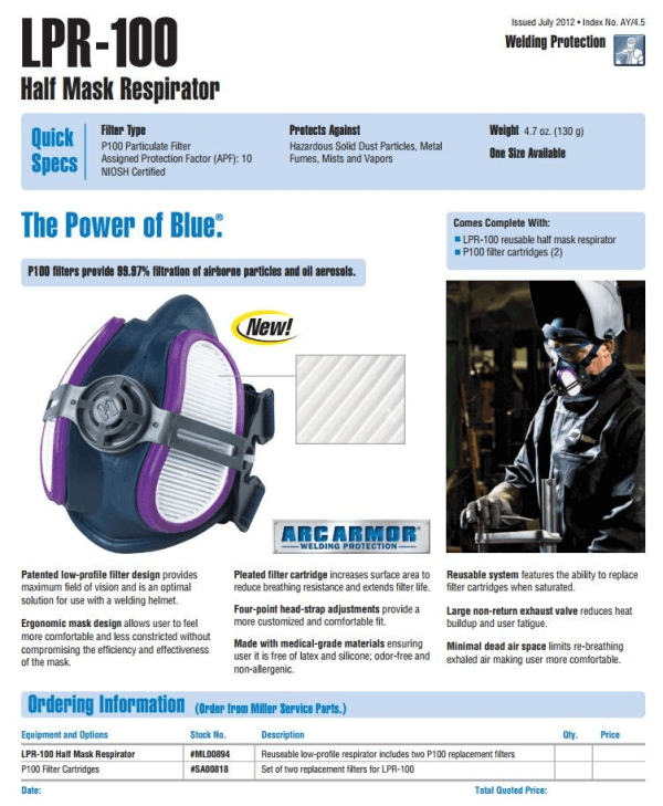 miller electric half mask respirator