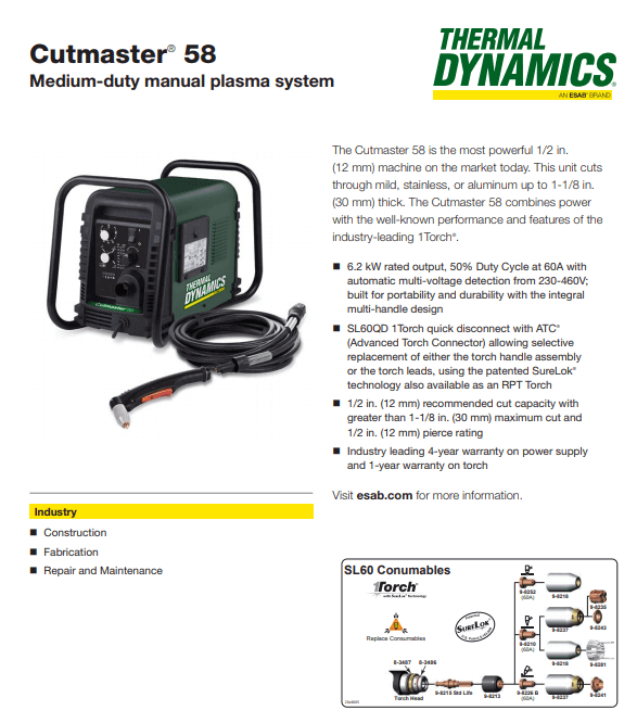 Thermal Dynamics Cutmaster 58 1-5830-2 For Sale | Plasma Cutters