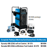 Miller Dynasty 400 Package: Machine/Cart/Cooler/Torch Kit/Remote #951694