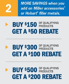 Additional Saving on Miller accessories and Hobart filler metals
